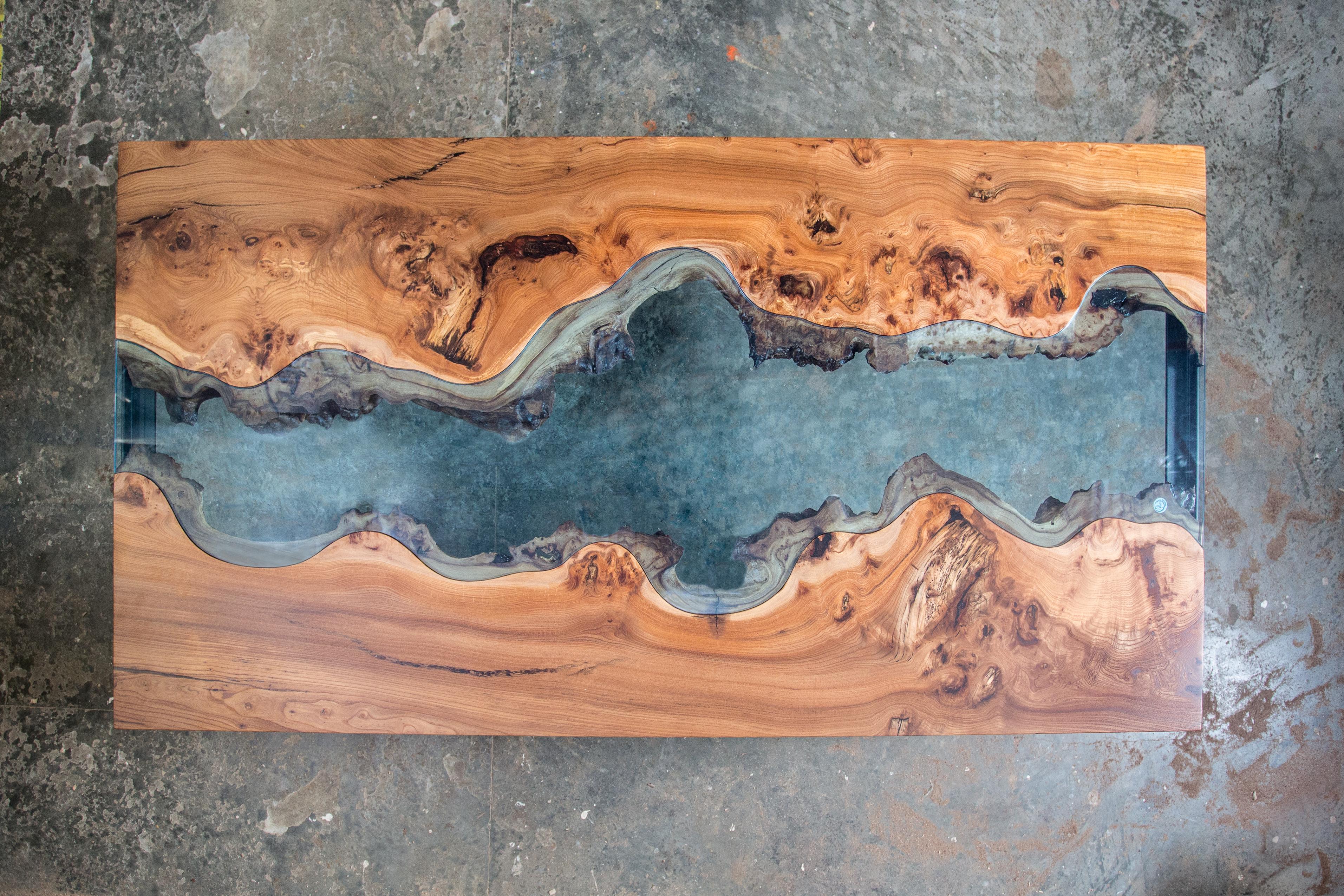 Table à manger bois brut verre teinté/feuilleté Design contemporain